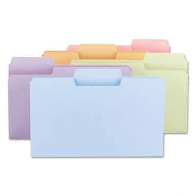 Smead Manufacturing Company SuperTab File Folders, 1/3 Cut, Top Tab, Legal, Assorted Colors, 100/Box