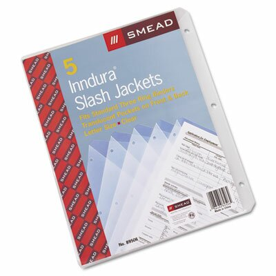 Smead Manufacturing Company Slash Pocket Jackets, Letter, Polypropylene, Clear, 5/Pk