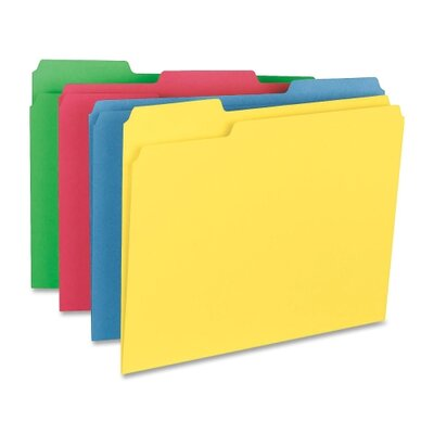 Smead Manufacturing Company Cutless Folders, Letter, 1/3 Cut, 100/BX, Assorted