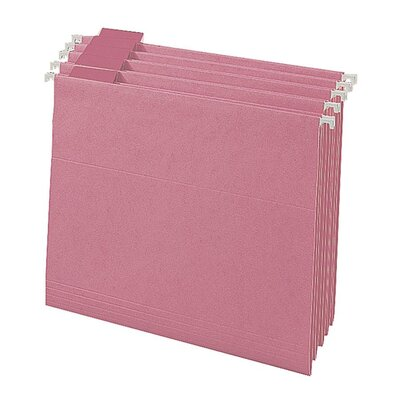 Smead Manufacturing Company Colored Hanging Folders, 1/5 Tab Cut, Letter Size, Pink