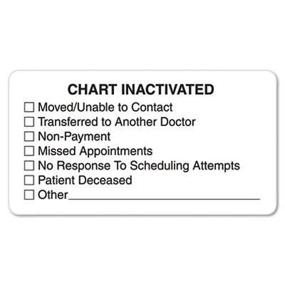 "Tabbies ""Chart Inactivated"" Medical Labels, 3-1/4 x 1-3/4, White, 250 per Roll"