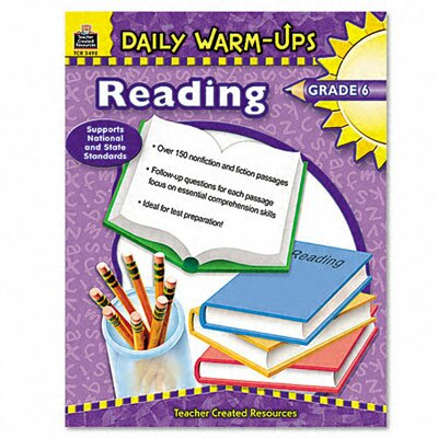 Teacher Created Resources Daily Warm-Ups: Reading, Grade 6, Paperback, 176 Pages