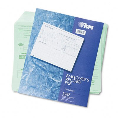 Tops Business Forms Employee Record File Folders, Straight Cut, Letter, 2-Sided, Green Ink, 20/Pack