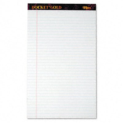Tops Business Forms Docket Gold Ruled Perforated Pad, Legal Rule/Size We, 12 50-Sheet Pads/Pack