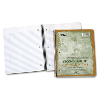 Tops Business Forms Second Nature Subject Wirebound Notebook, College Rule, Letter, White, 50