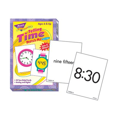 Trend Enterprises Match Me Cards Telling Time 52/box