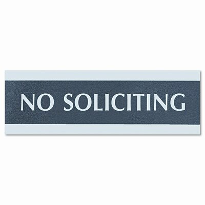 "U.S. Stamp & Sign Century Series ""No Soliciting"" Sign, 8w x 1/2d x 2h, Black/Silver"