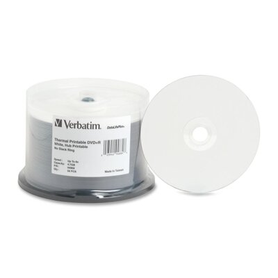 Verbatim Corporation DVD+R, 8X Recording Speed, Thermal Printable Surface, 50 per Pack