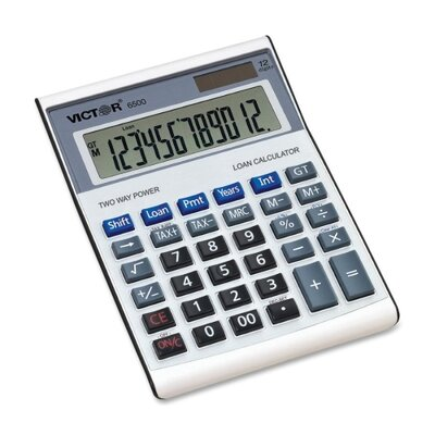 "Victor Technology 12-Digit Desktop Calculator, w/ Loan Wizard, 5-3/4""x7-7/8""x1-3/4"""