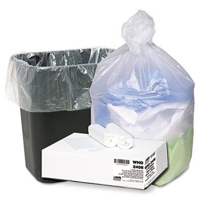 Webster Industries Ultra Plus Can Liners, 7-10 gal, 8mic, 24 x 24, Natural, 20 Rollls of 50 Bags