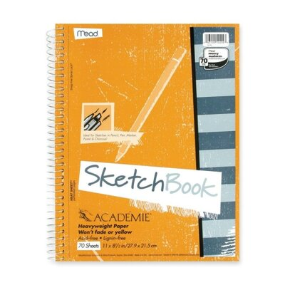 "Mead Wirebound Sketch Book, w/ Pockets, 11""x8-1/2"", 70 Sheets"