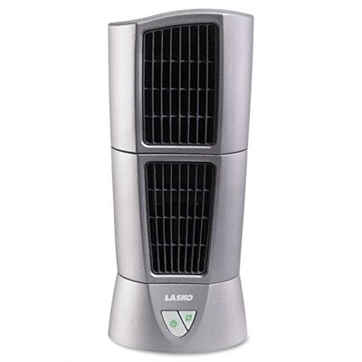 "Lasko 6"" Three-Speed Platinum Desktop Wind Tower Fan, Platinum"
