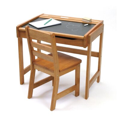 "Lipper International 24.75"" W Art Desk with Chalkboard Top and Chair"