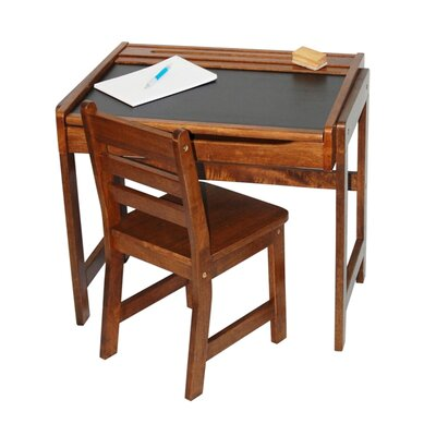 Lipper International Kids' Desk w/chalkboard top and and Chair set in Walnut