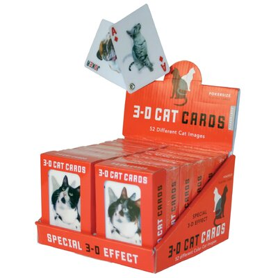 Kikkerland 3-D Cats Playing Cards