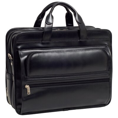 P Series Elston Leather Laptop Case in Black
