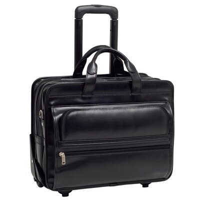 P Series Franklin Leather Detachable Wheeled Laptop Case in Black