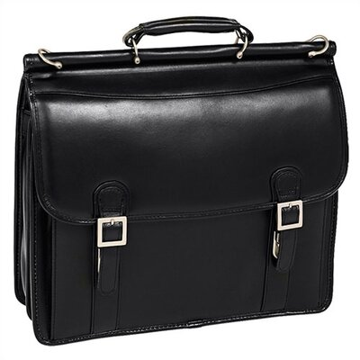V Series Halsted Leather Flapover Double Compartment Laptop Briefcase