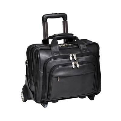 I Series Gold Coast Leather 2-in-1 Removable-Wheeled Laptop Briefcase in Black