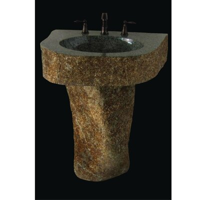 Earthen Fantasy Mountainous Boulder Pedestal Bathroom Sink - VAN-MTN-2532