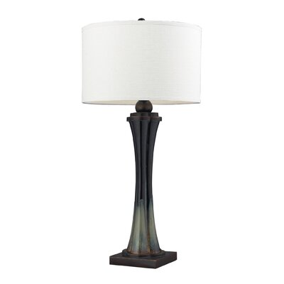 Dimond Lighting Langholm One Light Table Lamp in Green and Black Landscape