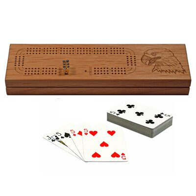 Wood Expressions Three Track Cribbage Board with Cards and Storage