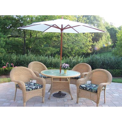 Oakland Living Resin Wicker Dining Set with Cushions and Umbrella