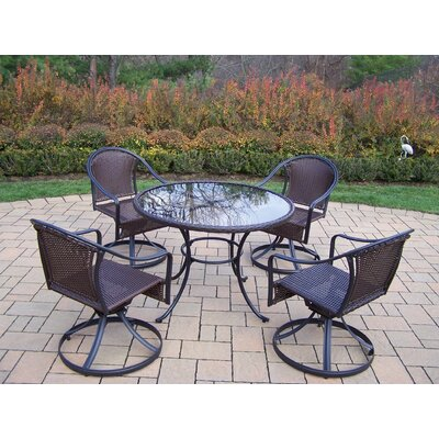 Oakland Living Elite Resin Wicker 5 Piece Swivel Dining Set