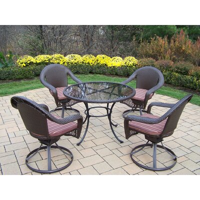 Oakland Living Elite Resin Wicker Swivel Dining Set with Cushions