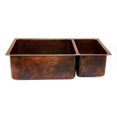 "Premier Copper Products 33"" Copper Hammered 75/25 Double Bowl Kitchen Sink in Oil Rubbed Bronze"