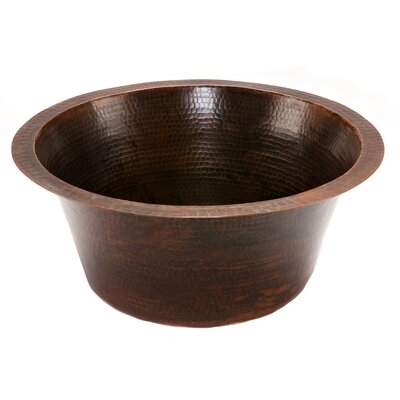 Round Hammered Copper Bar Bathroom Sink - BR16DB