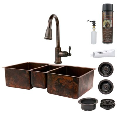 Premier Copper Products Hammered Triple Basin Kitchen Sink with ORB Pull Down Faucet, Drain and Accessory