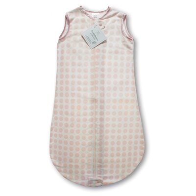 Swaddle Designs Certified Organic Cotton Flannel zzZipMe Sack in Pastel Pink with Dots and ...