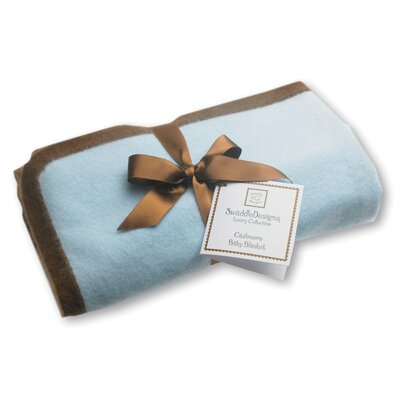 Swaddle Designs Cashmere Blanket in Pastel with Mocha Trim