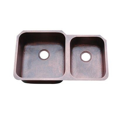 Yosemite Home Decor Hammered Double Bowl Undermount Copper Kitchen Sink