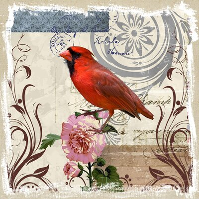 Revealed Artwork Cardinal on Linen Canvas Wall Art
