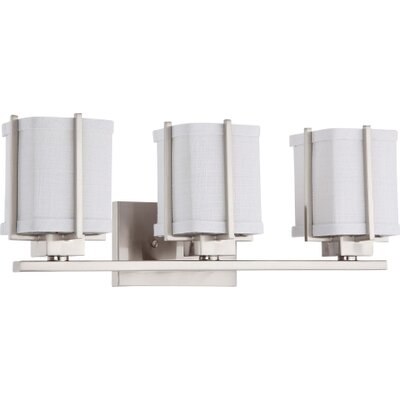 Nuvo Lighting Logan Three Light Bath Vanity in Brushed Nickel with Slate Gray Fabric Shade