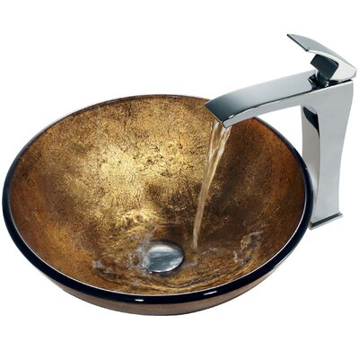 Vigo Liquid Gold Glass Bathroom Sink with Single Lever Faucet