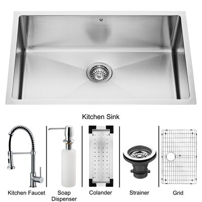 Vigo Stainless Steel Undermount Kitchen Sink and Faucet Set