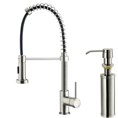 Vigo One Handle Single Hole Pull Out Spray Bar Faucet with Soap Dispenser