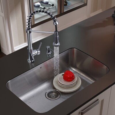 "Vigo 30"" x 18.75"" Undermount Kitchen Sink with Faucet, Strainer and Dispenser"