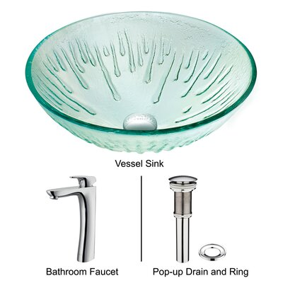 Vigo Molded Ice Bathroom Sink with L-Shaped Faucet