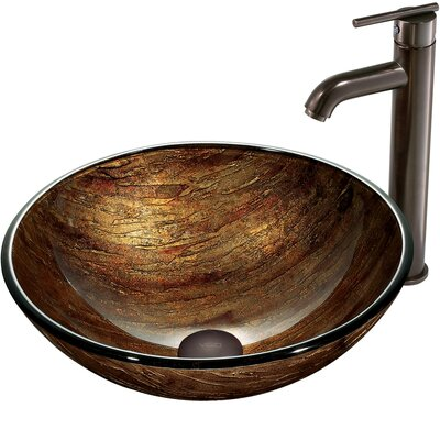 Vigo Amber Sunset Vessel Sink with Faucet