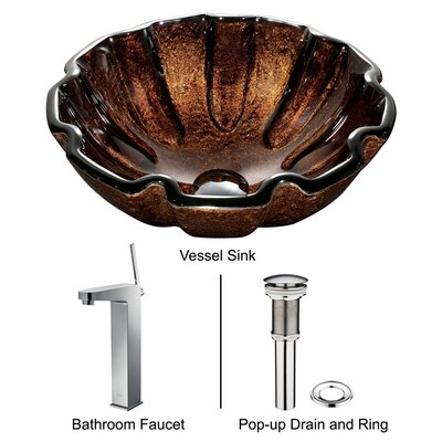 Vigo Walnut Shell Vessel Sink with Faucet