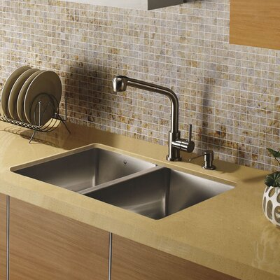 "Vigo 29"" x 20"" Undermount Double Bowl Kitchen Sink with Faucet and Soap Dispenser in Satin"