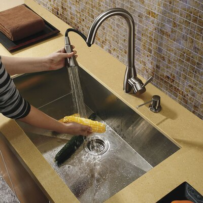 "Vigo 30.38"" x 19.25"" Undermount Single Bowl Kitchen Sink with Faucet and Soap Dispenser"