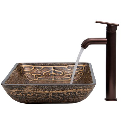 Golden Greek Glass Vessel Sink with Faucet - VGT284
