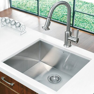"Vigo 23"" x 20"" Single Bowl Zero Radius 16 Gauge Kitchen Sink"