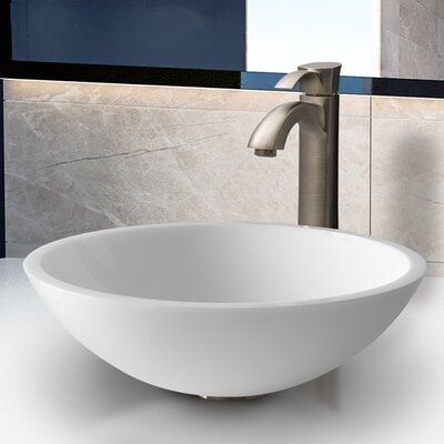 Vigo Phoenix Flat Edged Stone Glass Vessel Sink with Faucet