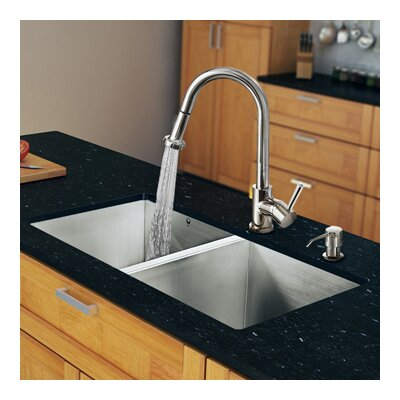 "Vigo 32"" x 19"" Zero Radius Double Bowl Kitchen Sink with Pull-Out Sprayer Faucet"